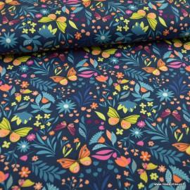 Tissu jersey French terry Butterflies in bloom Marine - oeko tex