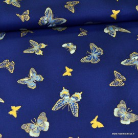 Tissu Popeline papillons métallique fond indigo - Robert Kaufman, collection Bella Mariposa