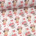 Tissu coton motif Frida, têtes de mort et fleurs - oeko tex