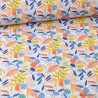 Tissu coton motif Feuilles multicouleurs - oeko tex
