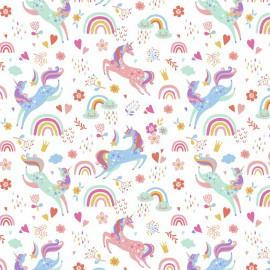 Tissu coton Coquines imprimé Licornes et Arc en ciel fond Blanc - Oeko tex