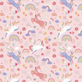 Tissu coton imprimé Licornes et Arc en ciel fond Rose - Oeko tex