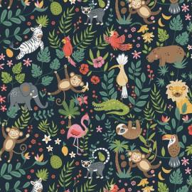 Tissu coton Buenos Aires imprimé animaux fond Marine - Oeko tex
