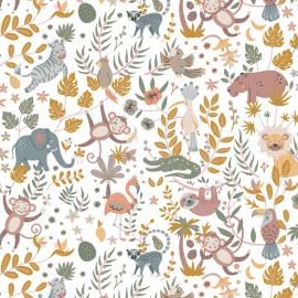 Tissu coton Buenos Aires imprimé animaux fond Miel - Oeko tex