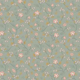 Tissu popeline Bio motifs fleurs et oiseaux fond Menthe, Gots - Romantic Flowers by Poppy