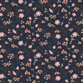 Tissu popeline Bio motifs fleurs et oiseaux fond Marine, Gots - Romantic Flowers by Poppy