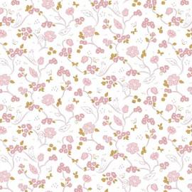 Tissu popeline Bio motifs fleurs et oiseaux fond Blanc, Gots - Romantic Flowers by Poppy