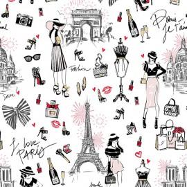 Tissu coton J'aime Paris fond Blanc motifs Tour Eiffel, arc de triomphe - Oeko tex