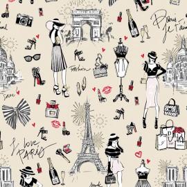 Tissu coton J'aime Paris fond Nude motifs Tour Eiffel, arc de triomphe - Oeko tex