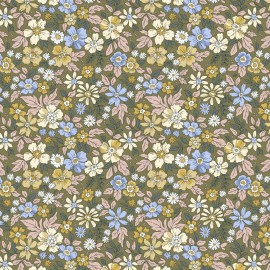 Tissu coton imprimé Pensée fleurs fond Kaki - Oeko tex