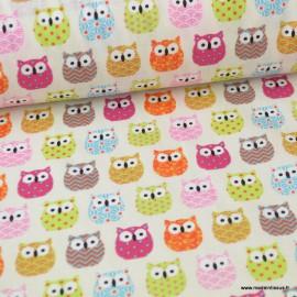 Tissu coton Enduit motifs Hiboux rose - Oeko tex