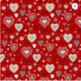 Tissu coton Enduit Jolicoeur motifs coeurs fond rouge - Oeko tex