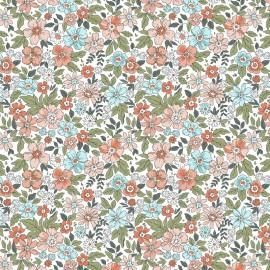 Tissu coton imprimé Pensée fleurs fond blanc - Oeko tex