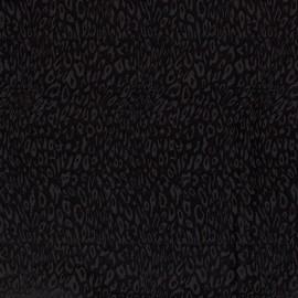 Tissu Satin motif léopard Noir