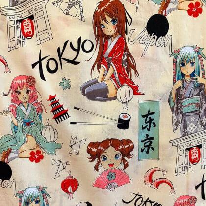 "Tissu Popeline coton imprimé Manga Japonais écru ""Tokyo Dream"" par Alexander Henry"
