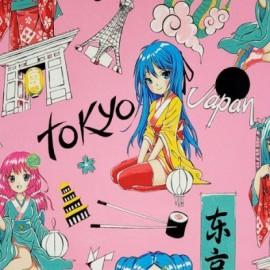 "Tissu Popeline coton imprimé Manga Japonais Rose ""Tokyo Dream"" par Alexander Henry"