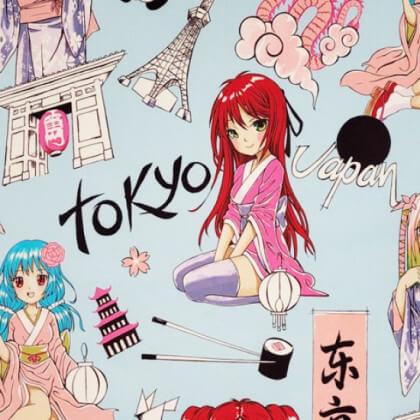 "Tissu Popeline coton imprimé Manga Japonais bleu ""Tokyo Dream"" par Alexander Henry"