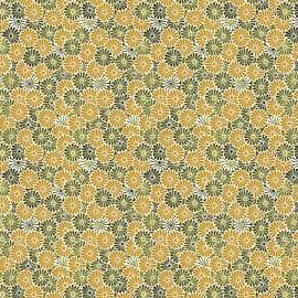 Tissu coton imprimé Nikki fleurs fond ambre - Oeko tex