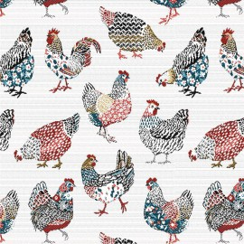 Tissu jacquard Paulette motifs Poules fond blanc