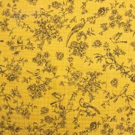 Tissu double gaze fleurs et oiseaux Romantic fond ocre Poppy - Oeko tex