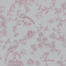 Tissu double gaze fleurs et oiseaux Romantic fond blanc Poppy - Oeko tex