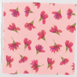 Tissu fleur aquarelle saumon Rico Design