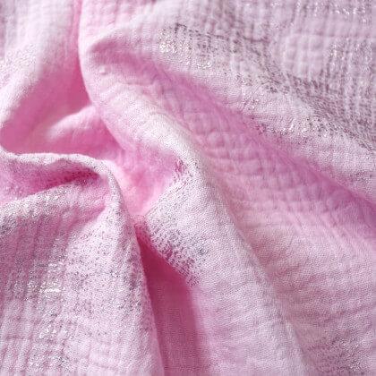 Tissu double gaze de coton motifs argentés fond rose Rico design
