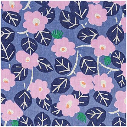 Tissu double gaze motifs fleurs fond bleu Rico design