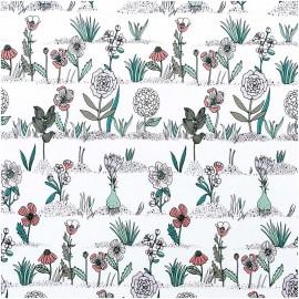 Tissu petites plantes et herbes Rico Design