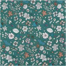 Tissu coton motifs fleurs fond vert Rico Design