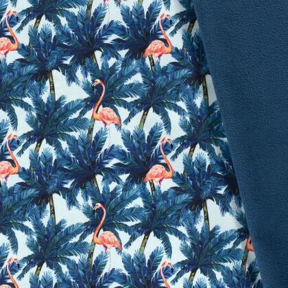 Tissu Softshell motifs feuillage et flamants fond pétrole