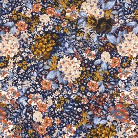 Tissu jersey motifs fleurs fond marine - oeko tex