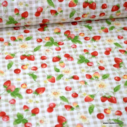 Tissu coton motifs fruits rouges fond Lin - Oeko tex