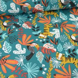 Tissu Coton Kimang motifs Toucans et feuillage tropical fond emeraude-  Oeko tex