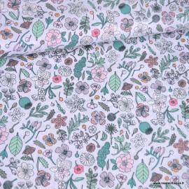 Tissu petites fleurs et herbes fluo Rico Design