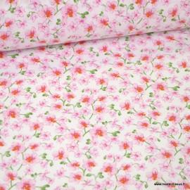 Tissu coton imprimé fleurs Bouquet Dragée - Oeko tex