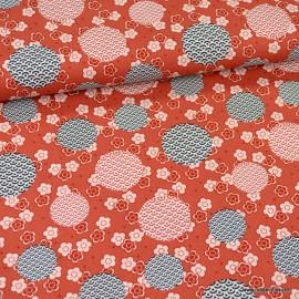 Tissu Popeline motif bulles et fleurs Japonais terracotta - oeko tex