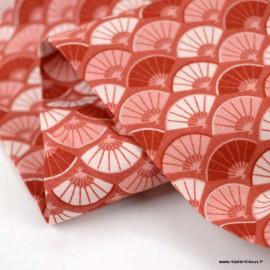 Tissu Popeline motif écailles Japonais terracotta - oeko tex