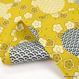 Tissu Popeline motif bulles et fleurs Japonais ocre - oeko tex
