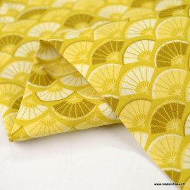 Tissu Popeline motif écailles Japonais ocre - oeko tex