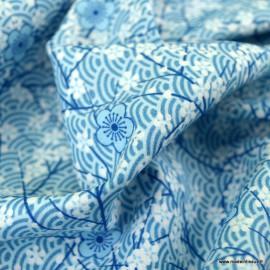 Tissu Popeline motif fleurs et wifi Japonaises bleu - oeko tex