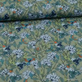 Tissu Popeline motif fleurs et wifi Japonaises rose - oeko tex