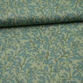 Tissu Popeline motif fleurs fond céladon - oeko tex