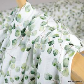 Double gaze de coton Bio Gots & oeko tex motifs Eucalyptus