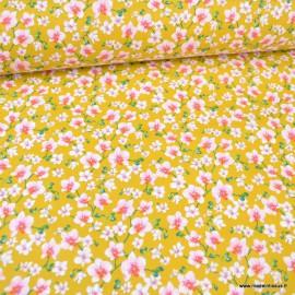 Tissu coton imprimé fleurs Bouquet Safran - Oeko tex