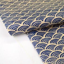 Tissu coton motif Wifi Navy