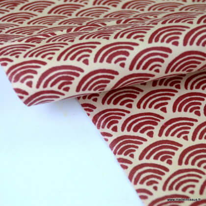 Tissu coton motif Wifi Burgendy
