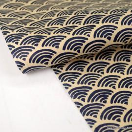 Tissu coton motif Wifi Marine