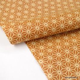 Tissu coton motif Asanoha étoile Moutarde
