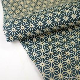 Tissu coton motif Asanoha étoile canard